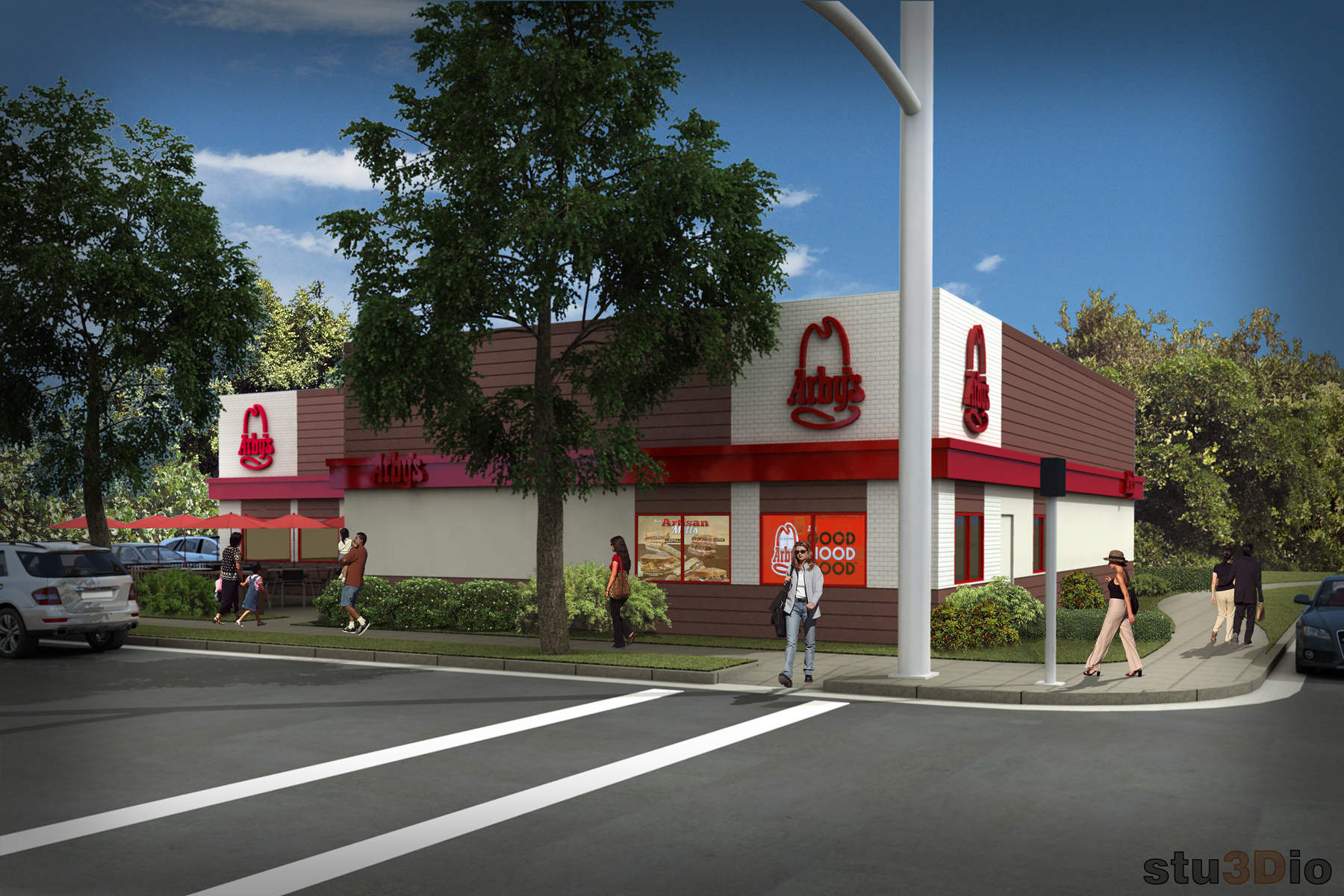 3D archiectural rendering of Arby's restaurant